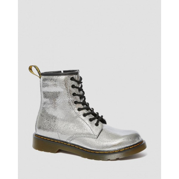 YOUTH 1460 CRINKLE METALLIC LACE UP BOOTS - SILVER CRINKLE METALLIC