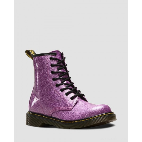 YOUTH 1460 GLITTER LACE UP BOOTS - DARK PINK COATED GLITTER