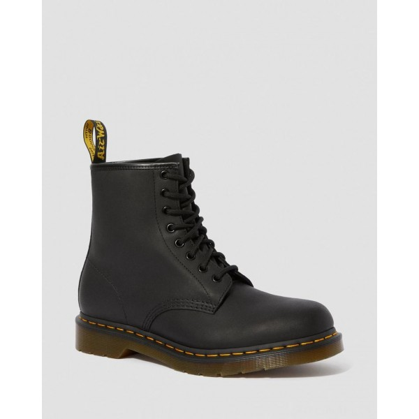 1460 GREASY LEATHER LACE UP BOOTS - BLACK GREASY