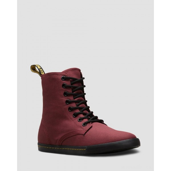 YOUTH SHERIDAN CASUAL CANVAS BOOTS - CHERRY RED T CANVAS