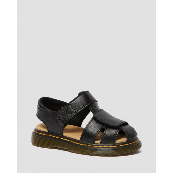 TODDLER MOBY II LEATHER VELCRO SANDALS - BLACK T LAMPER