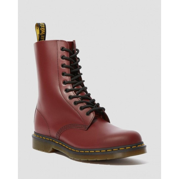 1490 SMOOTH LEATHER MID CALF BOOTS - CHERRY RED SMOOTH