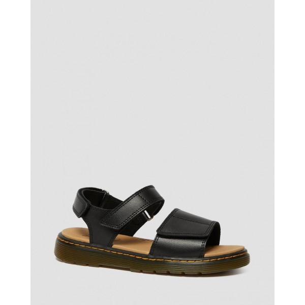 YOUTH ROMI LEATHER VELCRO SANDALS - BLACK T LAMPER