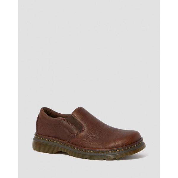 BOYLE MEN'S GRIZZLY LEATHER SLIP ON SHOES - DARK BROWN GRIZZLY
