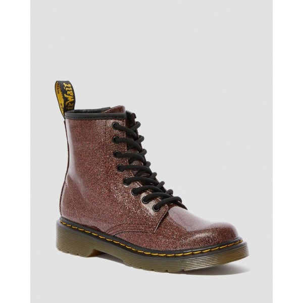 JUNIOR 1460 GLITTER LACE UP BOOTS - ROSE BROWN COATED GLITTER
