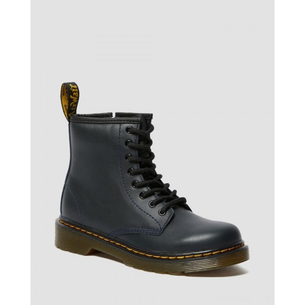 JUNIOR 1460 LEATHER LACE UP BOOTS - NAVY ROMARIO