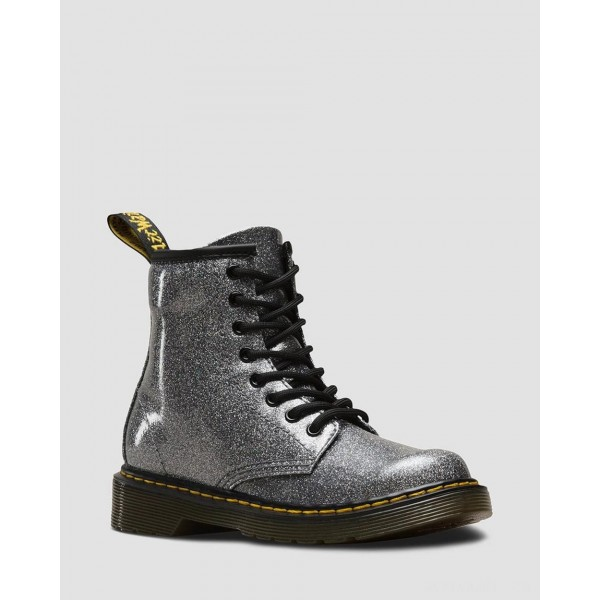 JUNIOR 1460 GLITTER LACE UP BOOTS - GUNMETAL COATED GLITTER