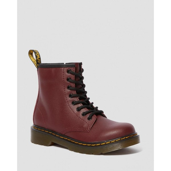 JUNIOR 1460 SOFTY T LEATHER LACE UP BOOTS - CHERRY RED