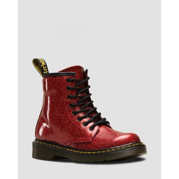 JUNIOR 1460 GLITTER LACE UP BOOTS - RED MULTI COATED GLITTER