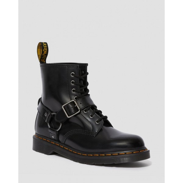 1460 HARNESS LEATHER LACE UP BOOTS - BLACK POLISHED SMOOTH